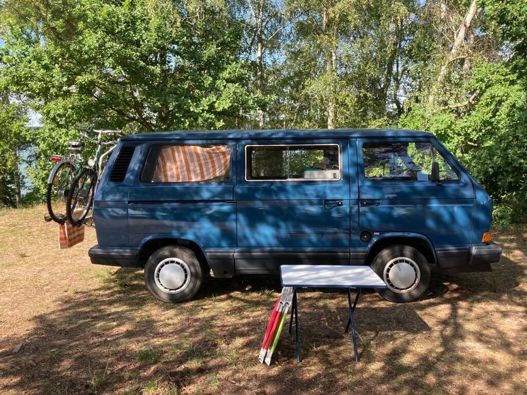 VW Bus T3 Lilli Magnum Multivan blau Camper Bulli mieten Rostock bincampen campen